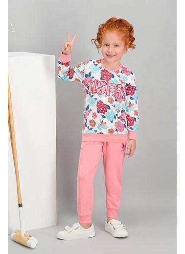 U.S. Polo Assn. Lisanslı Kız Çocuk Eşofman Takımı Krem